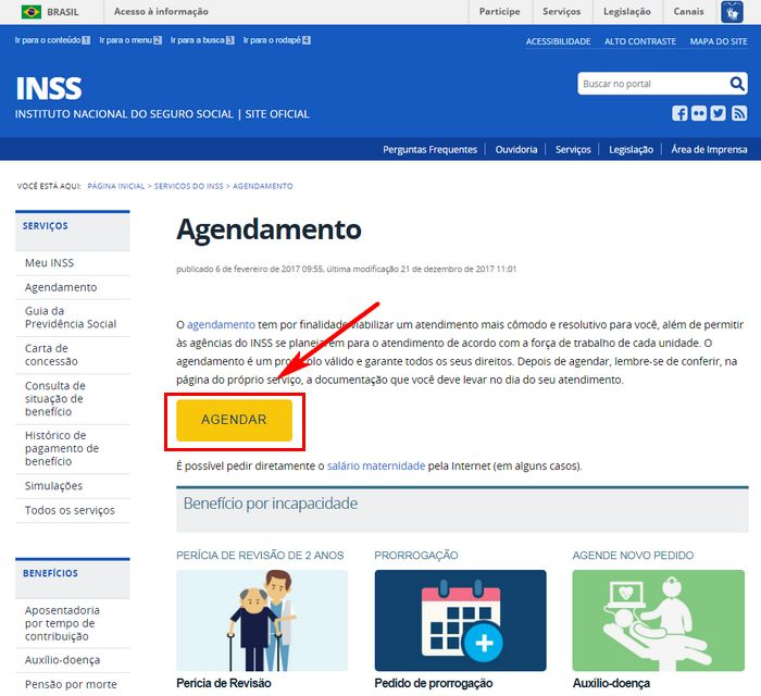 AgendamenPágina do agendamento no site da Previdência Socialto INSS Online