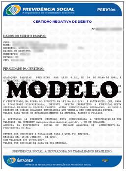Modelo de Certidão negativa de Débitos