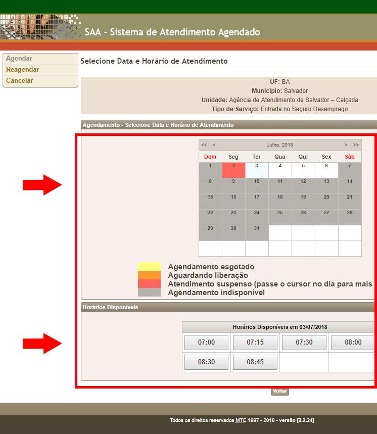 Escolha a data e horário do atendimento