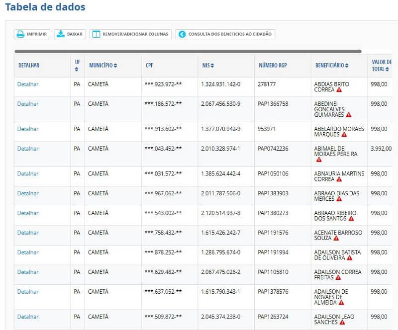 Consulta pelo Portal da Transparência